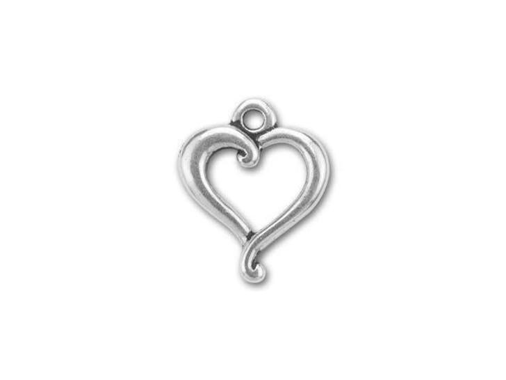 TierraCast Antique Silver Jubilee Heart Charm 17-17.5x14mm