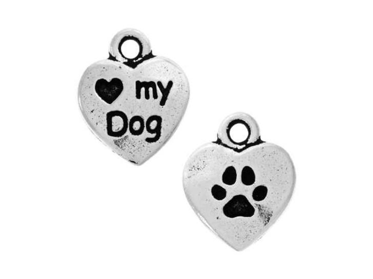 TierraCast Antique Silver Love My Dog Charm