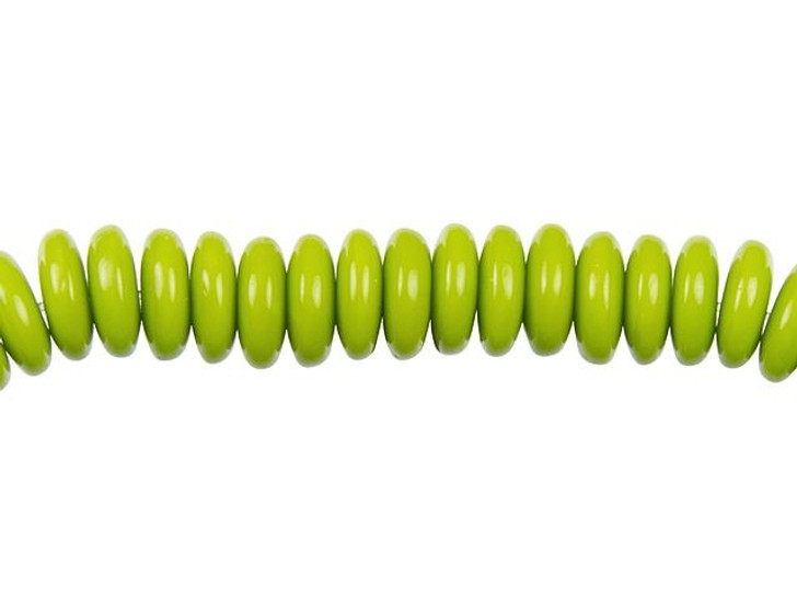 6mm Czech Glass Opaque Gaspeite Disc Spacer Bead Strand by Raven's Journey