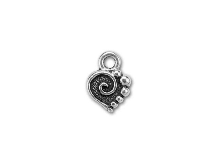 TierraCast Antique Silver Spiral Heart Charm 13.5x10mm