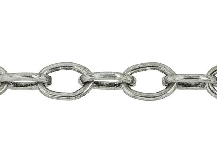TierraCast Antique Silver-Plated Brass 8 x 5mm Cable Chain by the Foot