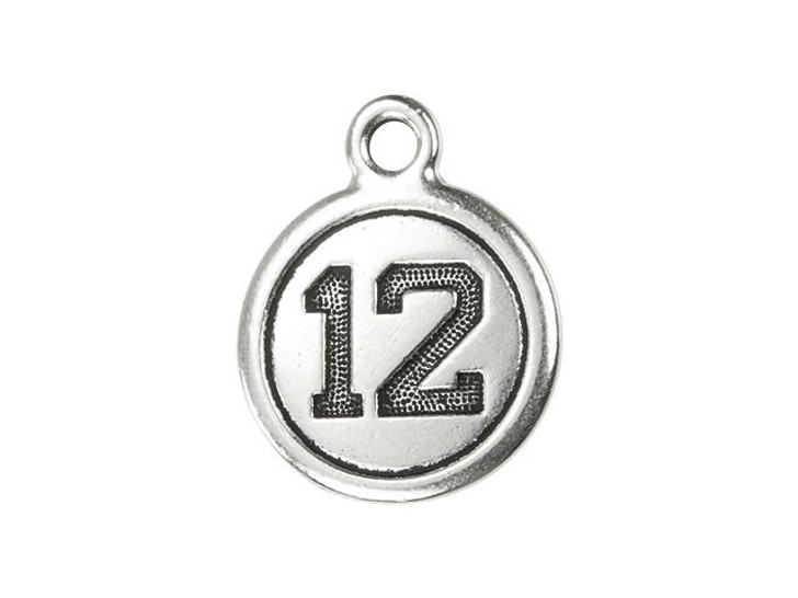 TierraCast Antique Silver-Plated Pewter 12 Round Charm
