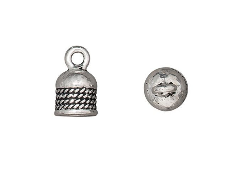 TierraCast Antique Silver-Plated Pewter 5mm Rope Cord End Cap