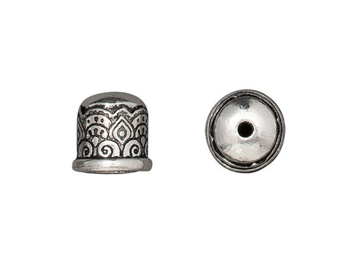 TierraCast Antique Silver-Plated Pewter 6mm Temple No Loop Cord End Cap