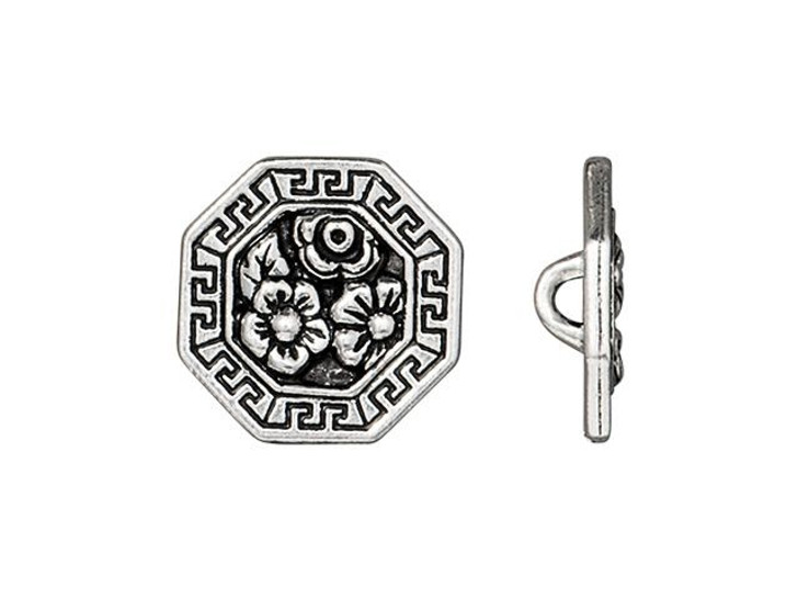 TierraCast Antique Silver-Plated Pewter Blossom Button
