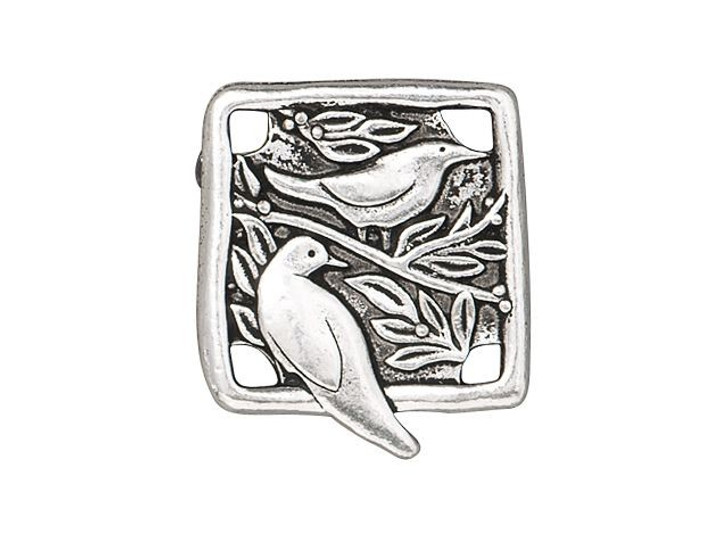 TierraCast Antique Silver-Plated Pewter Botanical Birds Link