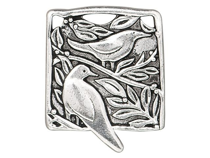 TierraCast Antique Silver-Plated Pewter Botanical Birds Pendant