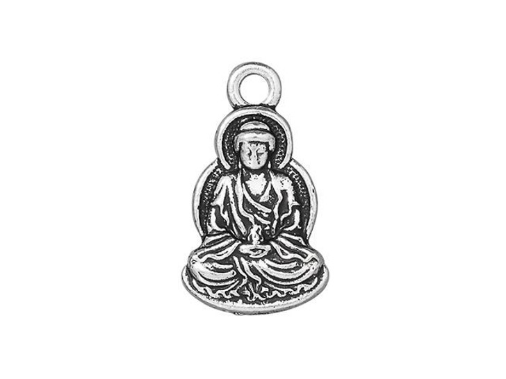 TierraCast Antique Silver-Plated Pewter Buddha Charm