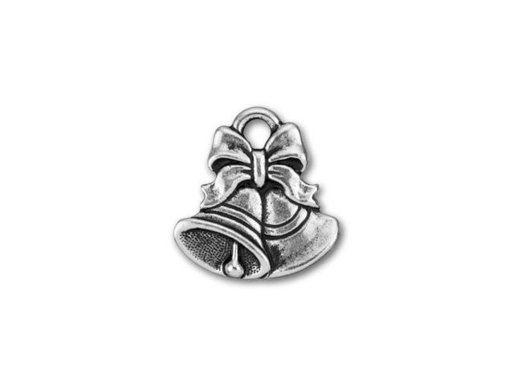 TierraCast Antique Silver-Plated Pewter Christmas Bells Charm
