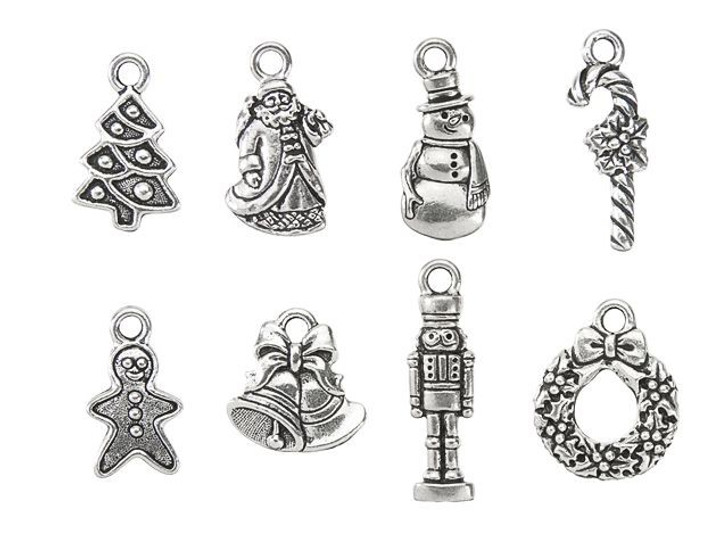 TierraCast Antique Silver-Plated Pewter Christmas Charm Set