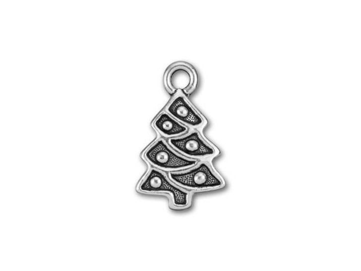 TierraCast Antique Silver-Plated Pewter Christmas Tree Charm