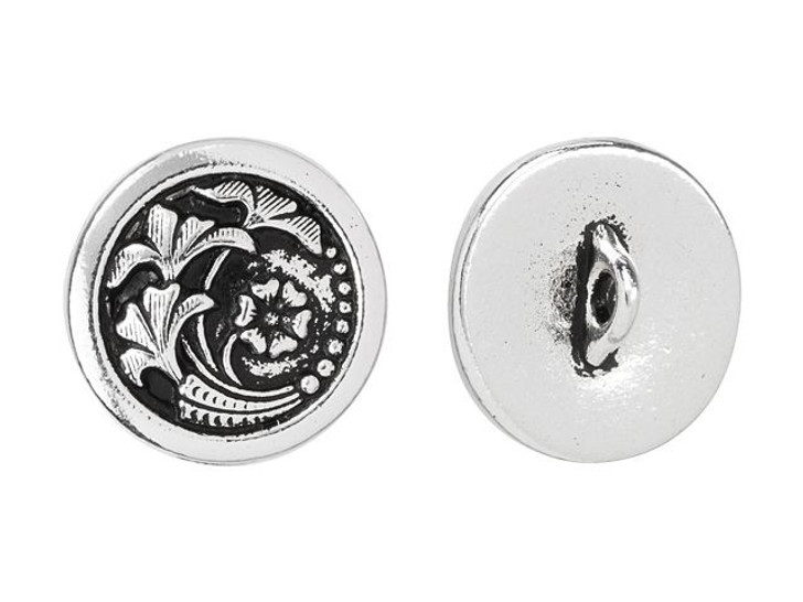 TierraCast Antique Silver-Plated Pewter Czech Flower Button