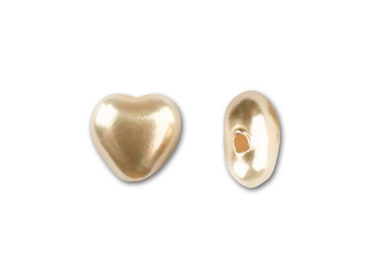 6mm Glass Heart Pearlized Gold