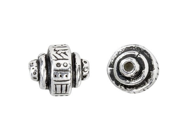 TierraCast Antique Silver-Plated Pewter Ethnic Barrel Bead