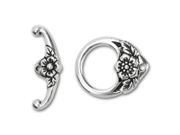 TierraCast Antique Silver-Plated Pewter Floral Toggle Clasp