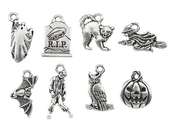 TierraCast Antique Silver-Plated Pewter Halloween Charm Set