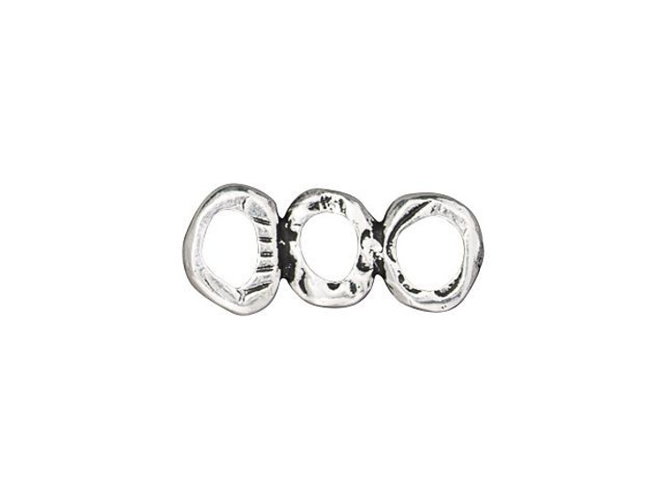 TierraCast Antique Silver-Plated Pewter Intermix 3-Ring-Bar Link