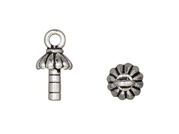 TierraCast Antique Silver-Plated Pewter Joy 3mm Peg Glue-On Cap