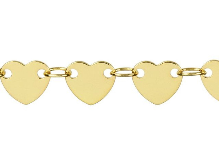 6mm Gold-Plated Brass Heart Chain By the Foot