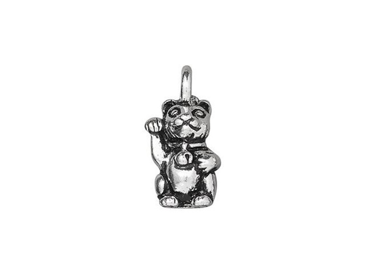 TierraCast Antique Silver-Plated Pewter Maneki Neko (Beckoning Kitty) Charm