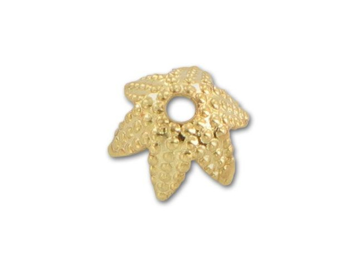 6mm Gold-Plated Dotted Star Bead Cap