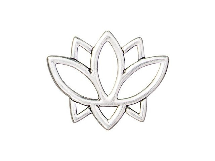 TierraCast Antique Silver-Plated Pewter Open Lotus Link