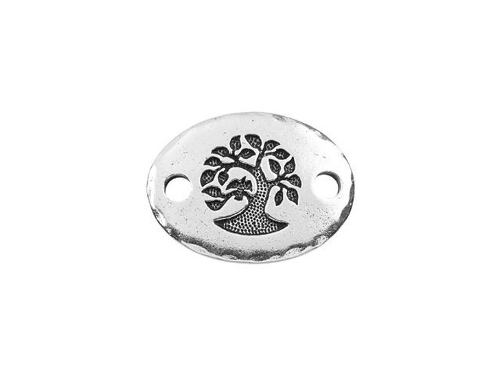 TierraCast Antique Silver-Plated Pewter Oval Bird in a Tree Link