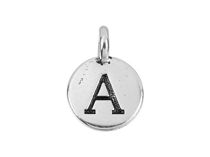 TierraCast Antique Silver-Plated Pewter Round Alphabet Charm - A