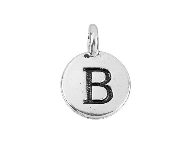 TierraCast Antique Silver-Plated Pewter Round Alphabet Charm - B