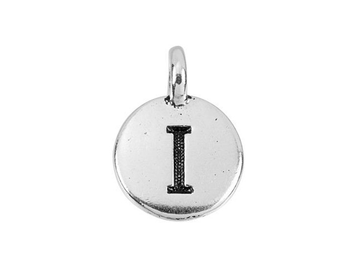 TierraCast Antique Silver-Plated Pewter Round Alphabet Charm - I
