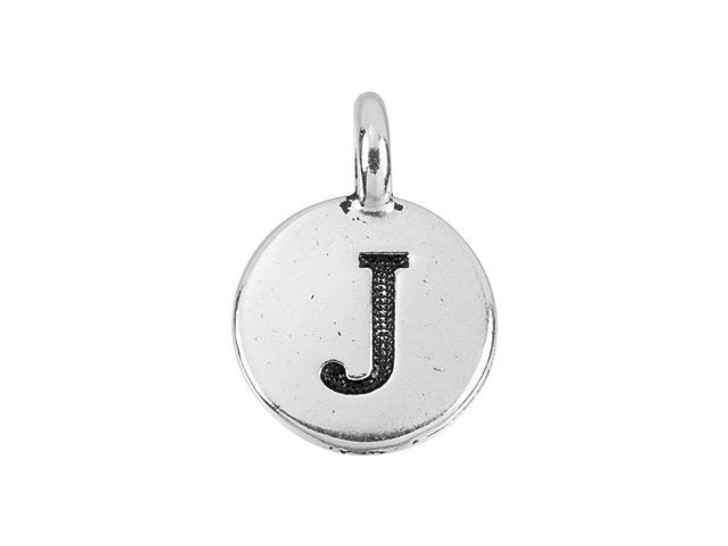 TierraCast Antique Silver-Plated Pewter Round Alphabet Charm - J