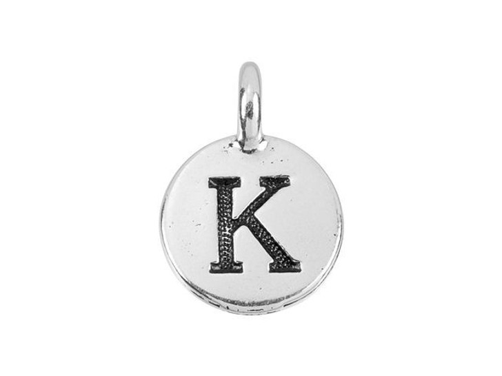 TierraCast Antique Silver-Plated Pewter Round Alphabet Charm - K