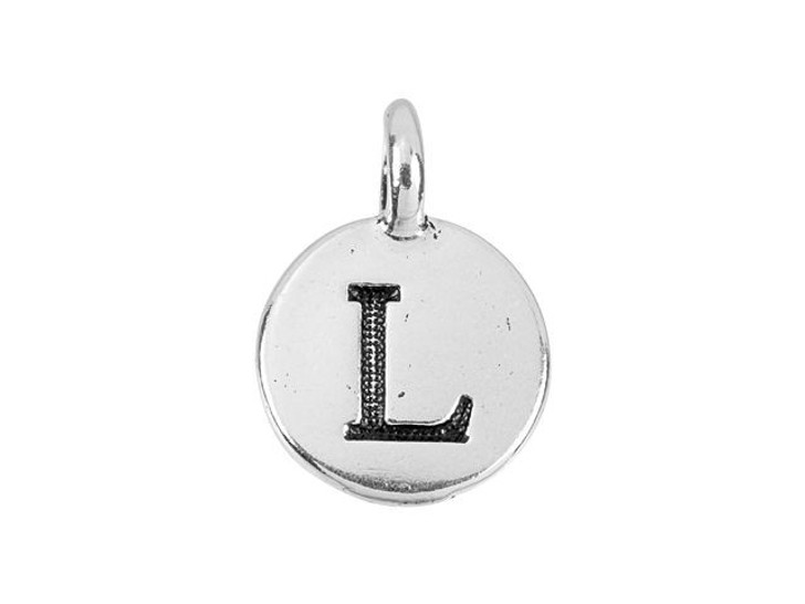TierraCast Antique Silver-Plated Pewter Round Alphabet Charm - L