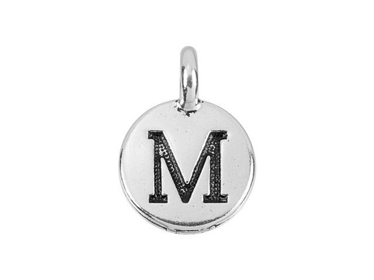 TierraCast Antique Silver-Plated Pewter Round Alphabet Charm - M