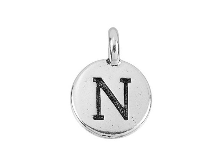 TierraCast Antique Silver-Plated Pewter Round Alphabet Charm - N