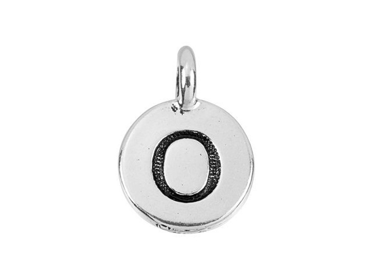 TierraCast Antique Silver-Plated Pewter Round Alphabet Charm - O