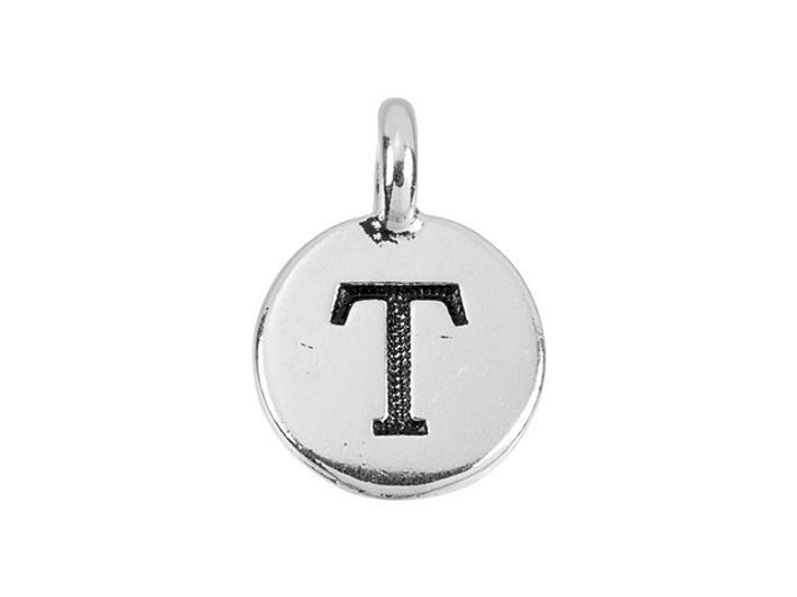 TierraCast Antique Silver-Plated Pewter Round Alphabet Charm - T