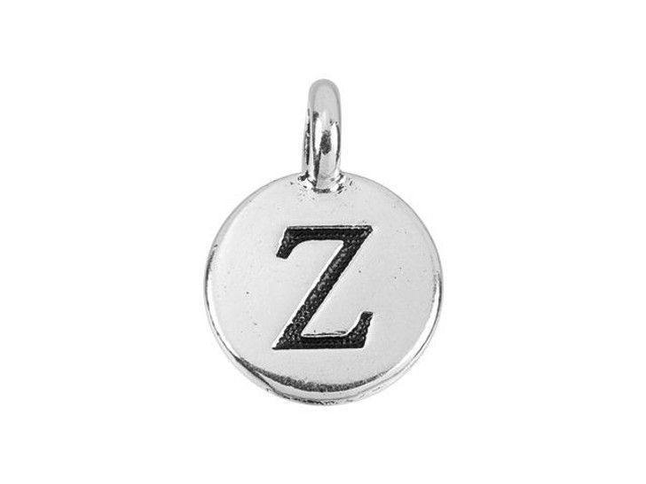 TierraCast Antique Silver-Plated Pewter Round Alphabet Charm - Z
