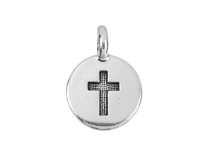 TierraCast Antique Silver-Plated Pewter Round Cross Charm