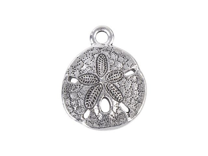 TierraCast Antique Silver-Plated Pewter Sand Dollar Charm