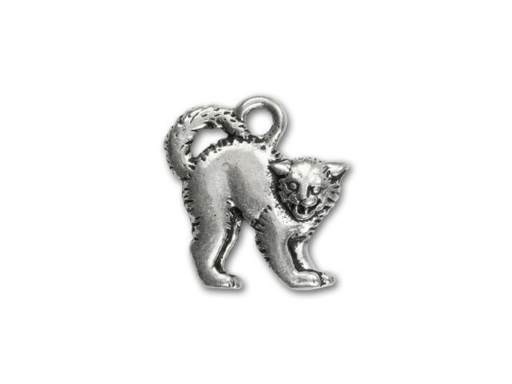 TierraCast Antique Silver-Plated Pewter Scary Cat Charm