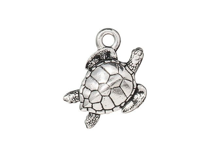 TierraCast Antique Silver-Plated Pewter Sea Turtle Charm