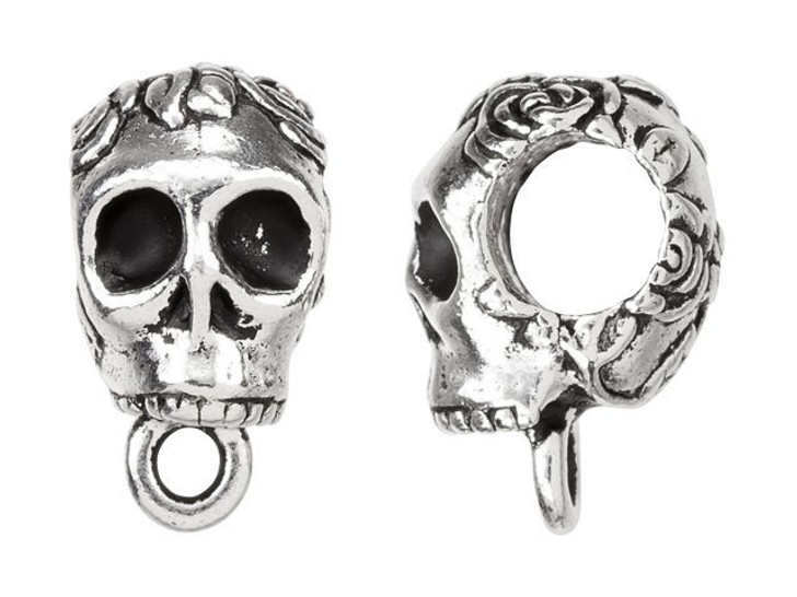 TierraCast Antique Silver-Plated Pewter Skull EuroBead