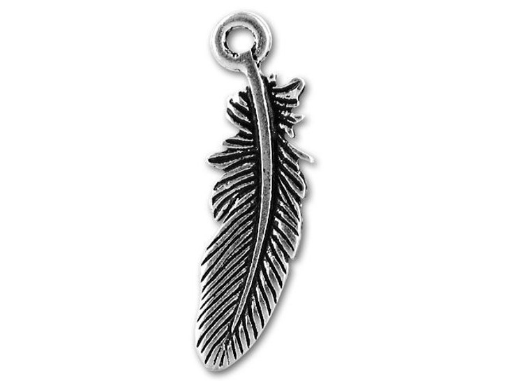 TierraCast Antique Silver-Plated Pewter Small Bird Feather Charm