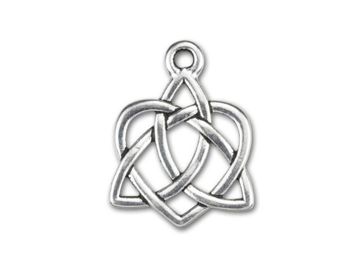 TierraCast Antique Silver-Plated Pewter Small Celtic Open Heart Charm