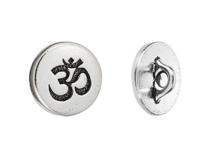 TierraCast Antique Silver-Plated Pewter Small Om Button