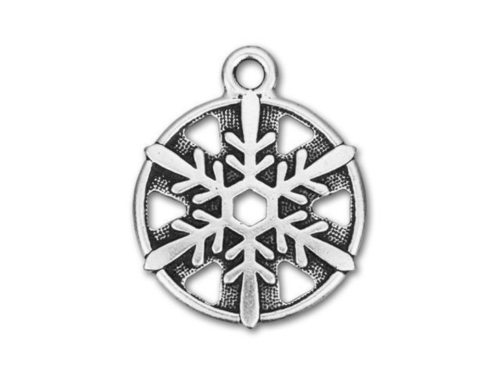 TierraCast Antique Silver-Plated Pewter Snowflake Charm
