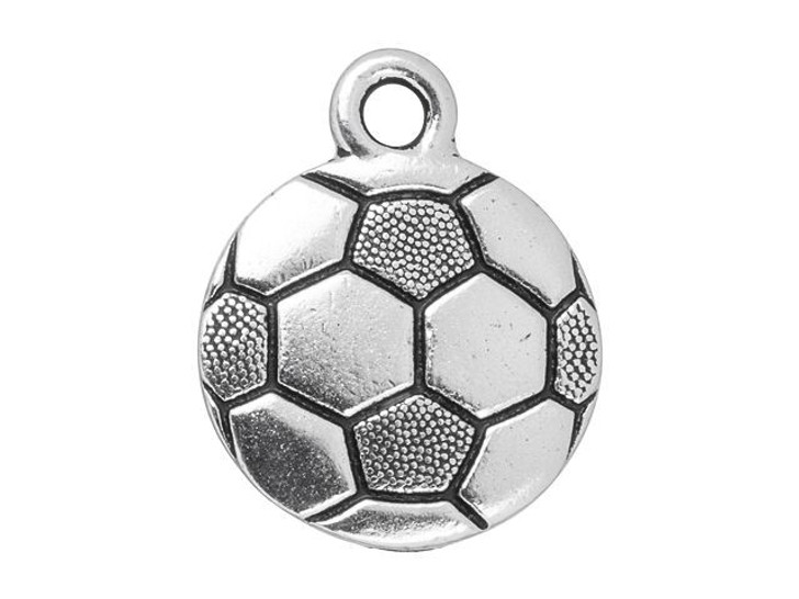 TierraCast Antique Silver-Plated Pewter Soccer Charm