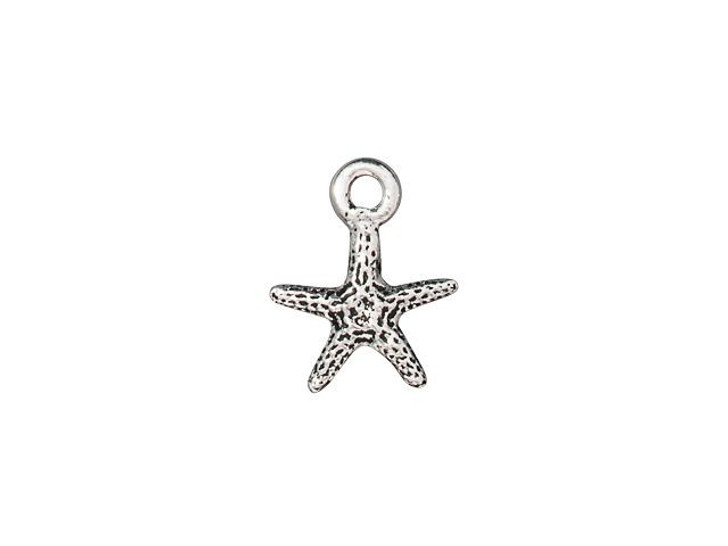 TierraCast Antique Silver-Plated Pewter Tiny Seastar Charm