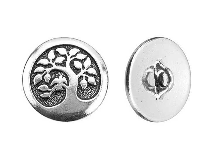 TierraCast Antique Silver-Plated Pewter Tree of Life Button